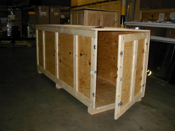 A complex crate for shipping from the US